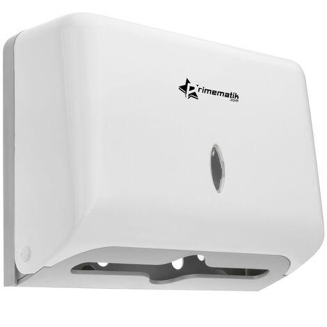 PrimeMatik - Dispensador de toallas de papel para baño en blanco 268x103x204mm