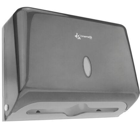 PrimeMatik - Dispensador de toallas de papel para baño en negro 268x103x204mm