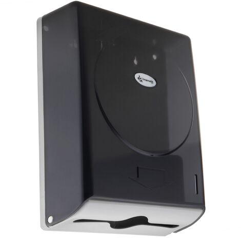 PrimeMatik - Dispensador de toallas de papel para baño en negro 274x103x373mm