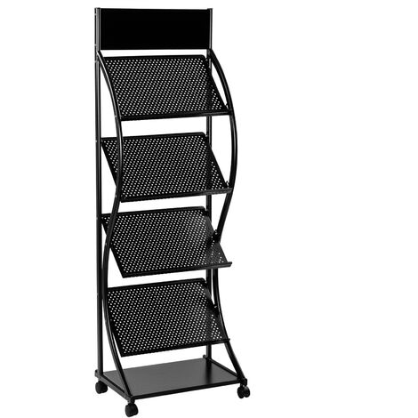 PrimeMatik - Display holder with 4 shelves for magazines and newspaper stands