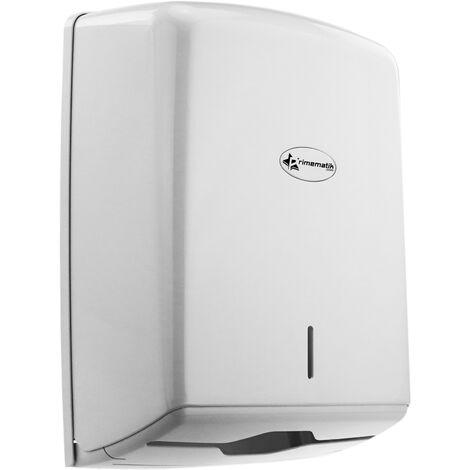 PrimeMatik - Distributeur d'essuie-mains en papier 600 pcs blanc pour salle de bain