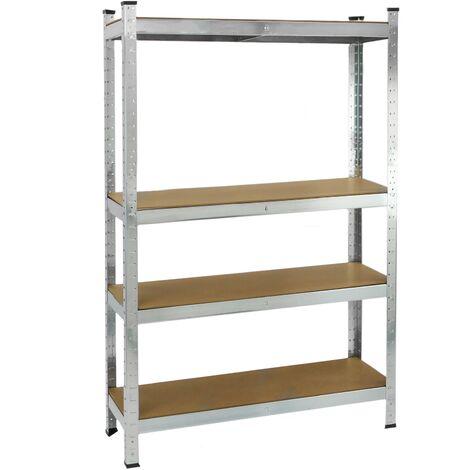 PrimeMatik - Estanteria metálica galvanizada para almacenar de 4 baldas de madera 80x40x160 cm
