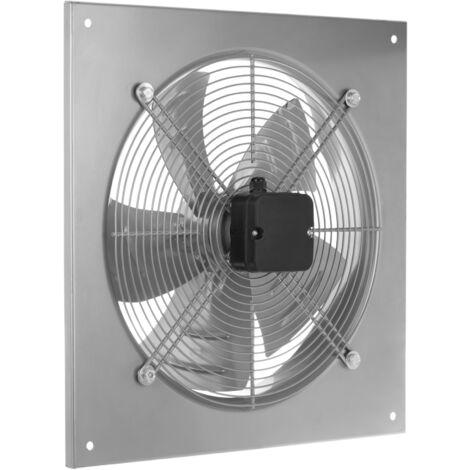 PrimeMatik - Extracteur d'air de mur pour la ventilation industrielle de 400 mm 1360 rpm carré 540x540x80 mm argent