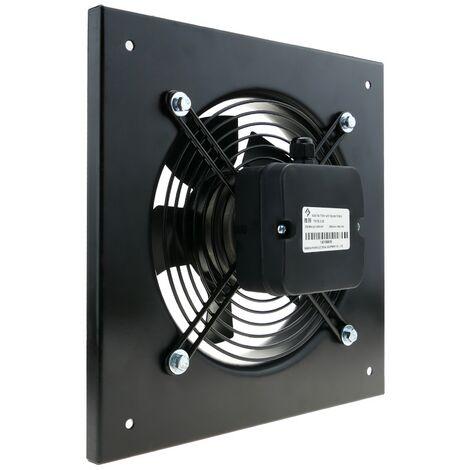 PrimeMatik - Extractor de aire de pared de 200 mm para ventilación industrial 2550 rpm cuadrado 310x310x48 mm