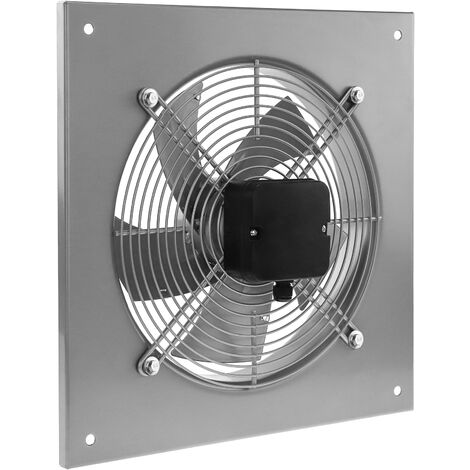 PrimeMatik - Extractor de aire de pared de 200 mm para ventilación industrial 2550 rpm cuadrado 310x310x48 mm plateado