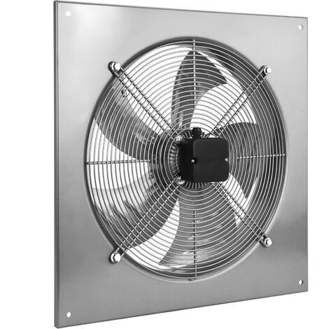 PrimeMatik - Extractor de aire de pared de 600 mm para ventilación industrial 1350 rpm cuadrado 790x790x100 mm plateado
