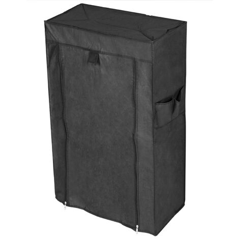 PrimeMatik - Fabric wardrobe for clothes and shoes storage and organiser 60 x 30 x 108 cm black with roll-up door