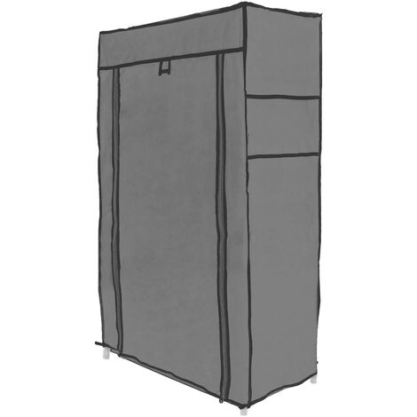 PrimeMatik - Fabric wardrobe for clothes and shoes storage and organiser 60 x 30 x 108 cm gray with roll-up door