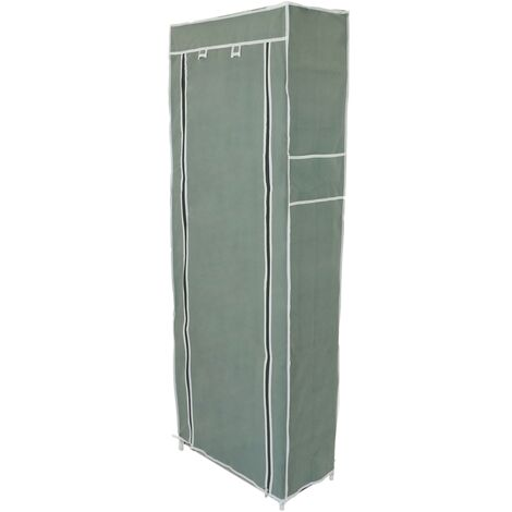 PrimeMatik - Fabric wardrobe for clothes and shoes storage and organiser 60 x 30 x 160 cm gray with roll-up door