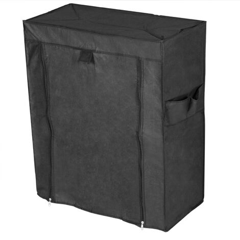 PrimeMatik - Fabric wardrobe for clothes and shoes storage and organiser 60 x 30 x 76 cm black with roll-up door