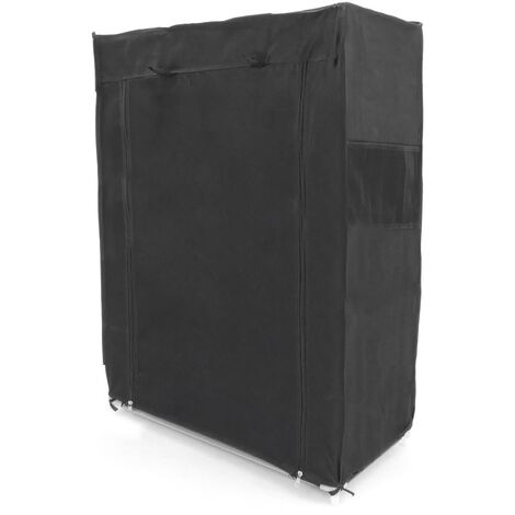 PrimeMatik - Fabric wardrobe for clothes and shoes storage and organiser 60 x 30 x 93 cm black with roll-up door