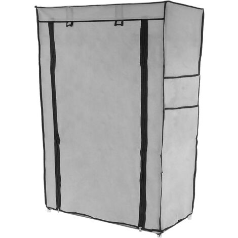 PrimeMatik - Fabric wardrobe for clothes and shoes storage and organiser 60 x 30 x 93 cm gray with roll-up door