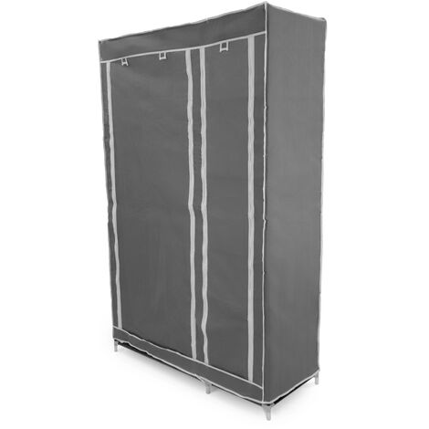PrimeMatik - Fabric wardrobe for clothes storage and organiser 110 x 45 x 175 cm double gray with roll-up doors