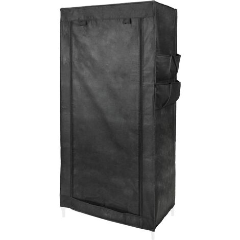 PrimeMatik - Fabric wardrobe for clothes storage and organiser 70 x 45 x 155 cm black with roll-up door