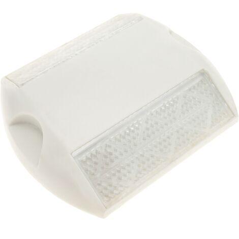PrimeMatik - Floor road reflector in white plastic 103 x 89 x 19 mm