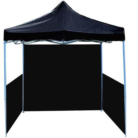 PrimeMatik - Folding gazebo tent canopy black 300x300cm with side fabrics