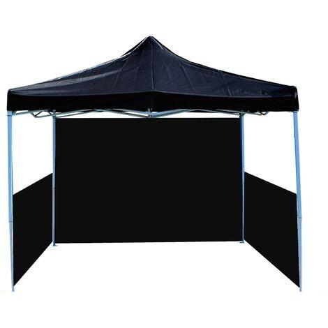 PrimeMatik - Folding gazebo tent canopy black 300x450cm with side fabrics