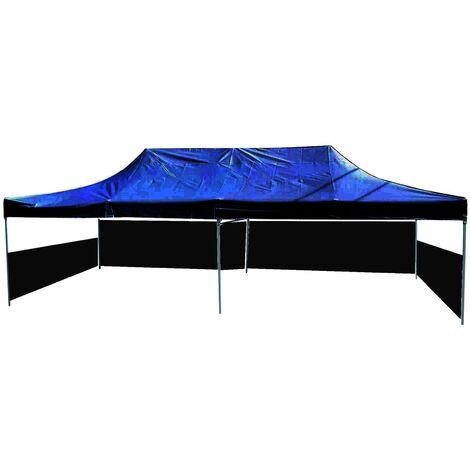 PrimeMatik - Folding gazebo tent canopy black 300x600cm with side fabrics
