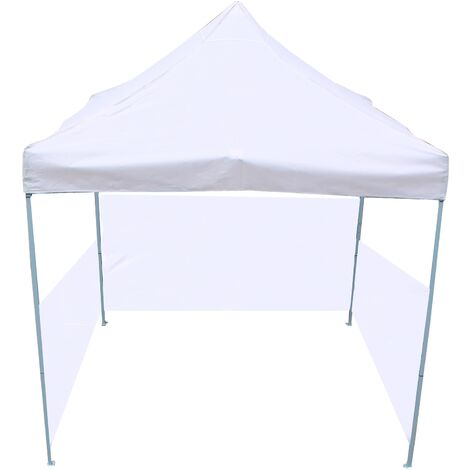 PrimeMatik - Folding gazebo tent canopy white 300x300cm with side fabrics