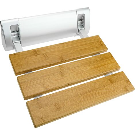 PrimeMatik - Folding shower seat. Folding chair for the elderly in bamboo wood and aluminum 320x328mm
