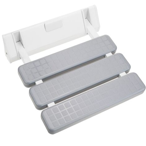 PrimeMatik - Folding shower seat. Folding chair for the elderly in plastic and aluminum gray 320x328mm