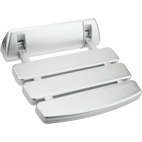 PrimeMatik - Folding shower seat. Folding chair for the elderly in plastic and aluminum silver 350x348mm