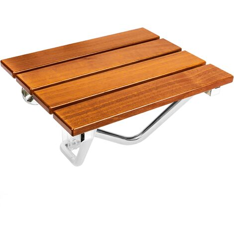PrimeMatik - Folding shower seat. Folding chair for the elderly in tropical wood and aluminum 380x338mm