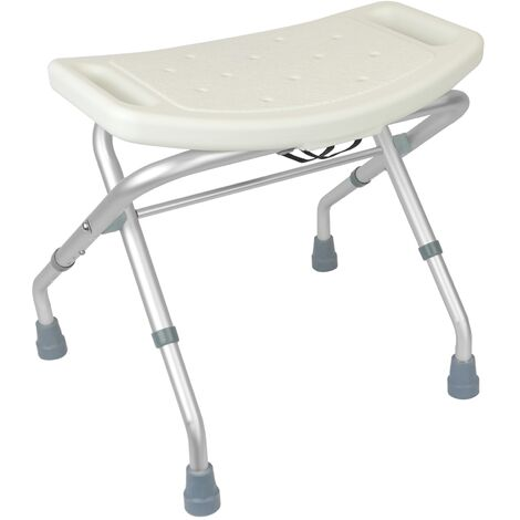 PrimeMatik - Folding shower stool non-slip and adjustable in height 50x30 cm