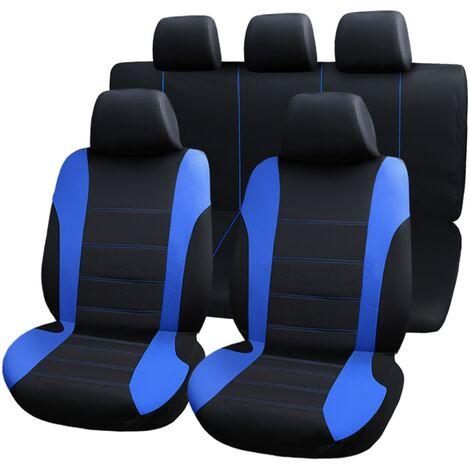 PrimeMatik - Fundas de asiento coche azules. Cubiertas protectoras universal para los 5 asientos del automóvil