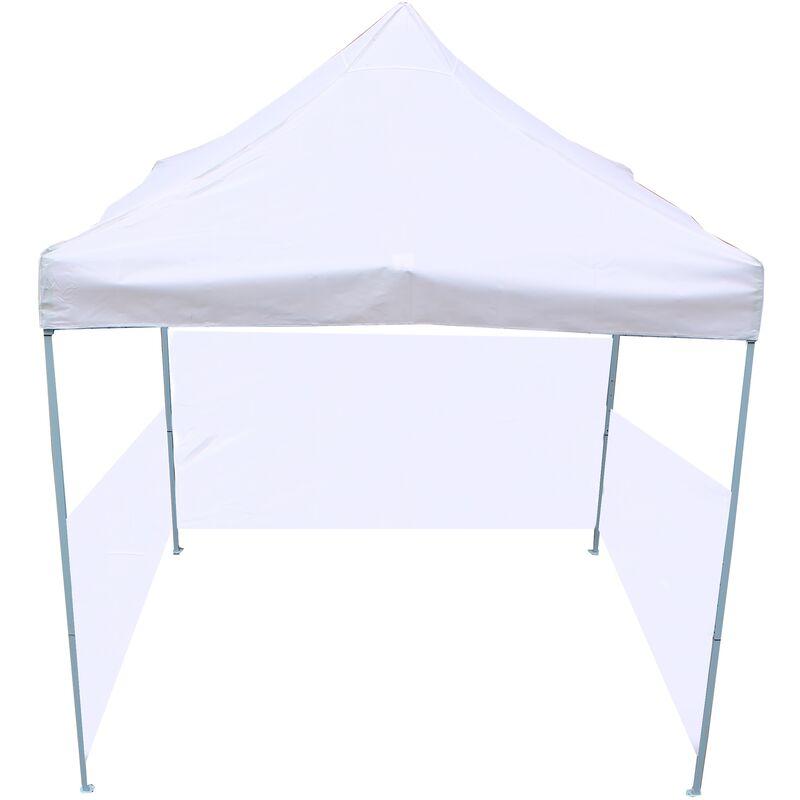 Gazebo pieghevole bianco tenda 300x300cm con tessuti laterali - Primematik