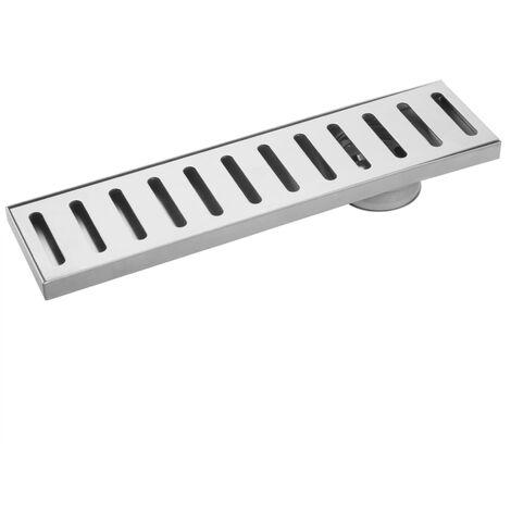 PrimeMatik - Gouttière de drainage 7,5x30cm avec grille en acier inoxydable mat