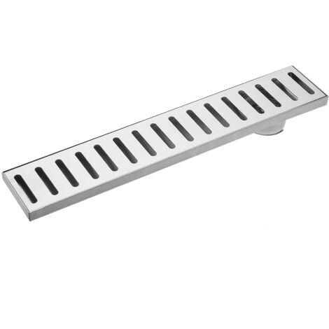 PrimeMatik - Gouttière de drainage 7,5x40cm avec grille en acier inoxydable mat