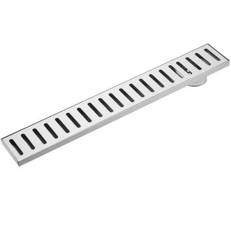 PrimeMatik - Gouttière de drainage 7,5x50cm avec grille en acier inoxydable mat