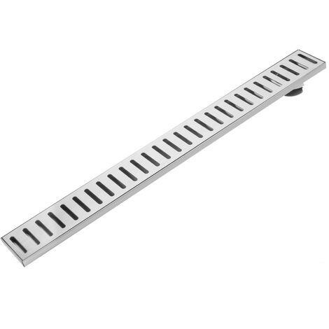 PrimeMatik - Gouttière de drainage 7,5x70cm avec grille en acier inoxydable mat