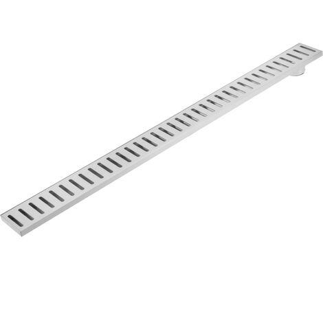 PrimeMatik - Gouttière de drainage 7,5x90cm avec grille en acier inoxydable mat