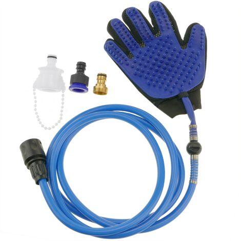 PrimeMatik - Guante de agua limpiador de perros. Ducha manual para mascotas con manguera y adaptadores