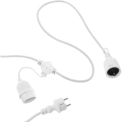 PrimeMatik - Guirlande 10 ampoules pour extérieur avec E27 calotte IP44 cordon alimentation 10m extensible blanc
