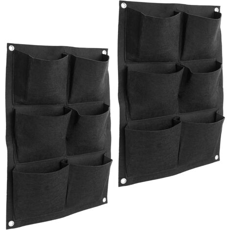 PrimeMatik - Hanging vertical wall felt garden for plant growth 35x50cm with 6 pockets 2-pack