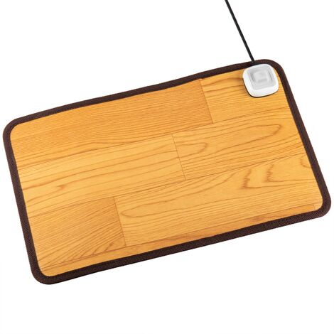 PrimeMatik - Heated rug for floor and foot of 49 x 30 cm 60W beech color
