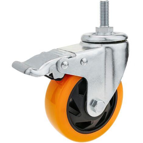 PrimeMatik - Industrial wheel swivel castor of polyurethane with brake 75 mm M12