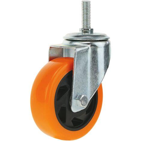 PrimeMatik - Industrial wheel swivel castor of polyurethane without brake 100 mm M12