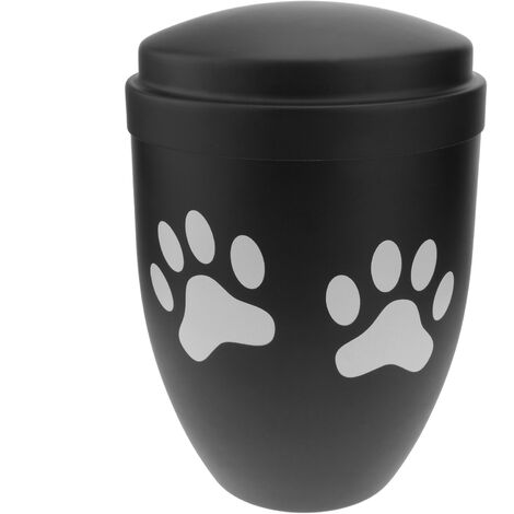 PrimeMatik - Keepsake urn for funeral ashes Memorial cremation black metal vessel 160x225 mm