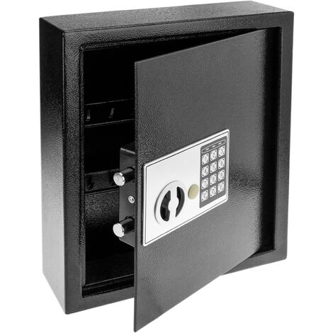 PrimeMatik - Key cabinet with 18 hooks. Security safe with electronic code 30x10x37cm black