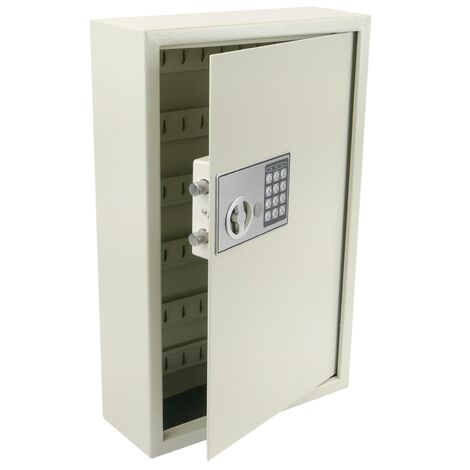 PrimeMatik - Key cabinet with 60 hooks. Security safe with electronic code 35x13x55cm beige