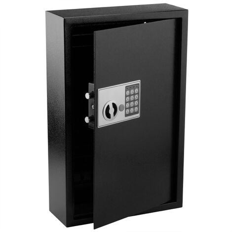 PrimeMatik - Key cabinet with 60 hooks. Security safe with electronic code 35x13x55cm black