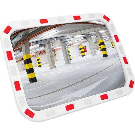 PrimeMatik - Konvexen Spiegel Sicherheit Signalisierung rechteckigen 80x60 cm mit zweifarbigem Rahmen