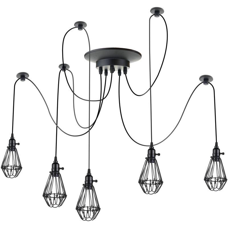 PrimeMatik - Lampada vintage con gabbie ovale per 5 lampadine di filo E27 con cavo di 3m