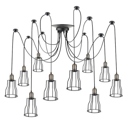 PrimeMatik - Lámpara con jaulas largas para 10 bombillas de rosca E27 vintage con cable de 3m