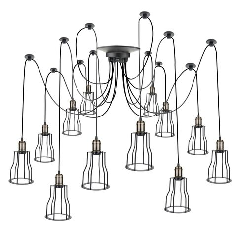 PrimeMatik - Lámpara con jaulas largas para 12 bombillas de rosca E27 vintage con cable de 3m
