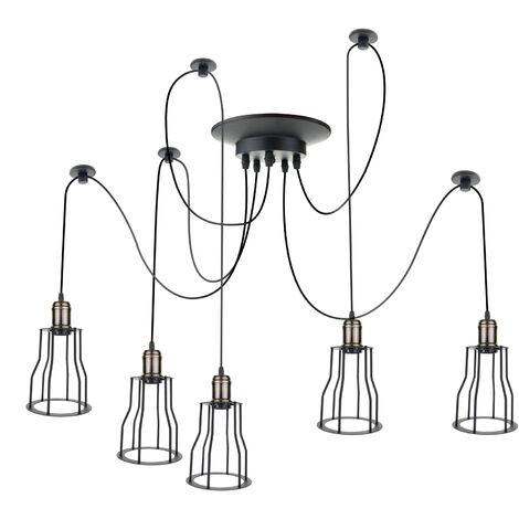PrimeMatik - Lámpara con jaulas largas para 5 bombillas de rosca E27 vintage con cable de 3m